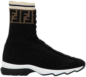 Fendi Black Fabric Sneaker Boots