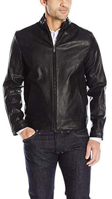 Calvin Klein Men's Faux Leather Jacket with Perforation Detail