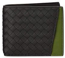 Bottega Veneta Men's Woven Bi-Fold Wallet with External Pocket