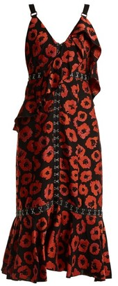 Proenza Schouler Floral Jacquard Ruffle Trimmed Dress - Womens - Black Print