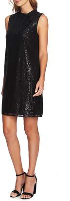 CeCe Sequin Tie Neck Shift Dress
