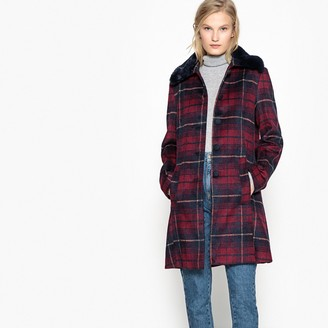 La Redoute COLLECTIONS Faux Fur Collar Checked Coat