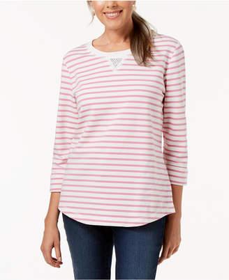 Karen Scott Petite Rhinestone-Embellished Sweatshirt, Created for Macy's