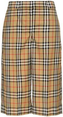 Burberry mix checked cotton culottes
