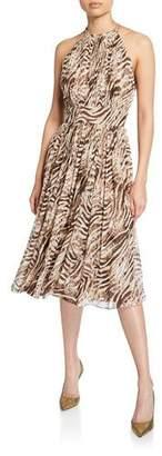 Elie Tahari Dominica Tiger Stripe Halter Dress