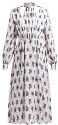 Emilia Wickstead Marguera Floral Print Crepe Midi Dress - Womens - Blue Print
