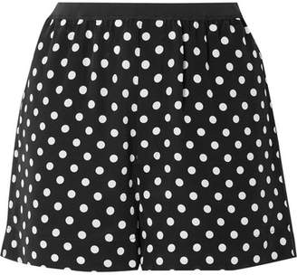 Marc Jacobs Polka-dot Silk Crepe De Chine Shorts - Black