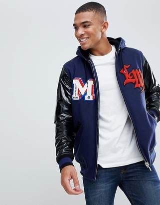Love Moschino Wool Zip Thru Badge Jacket with Contrast Sleeves