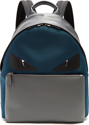 FENDI Bag Bugs leather-trimmed canvas backpack $1,950 thestylecure.com