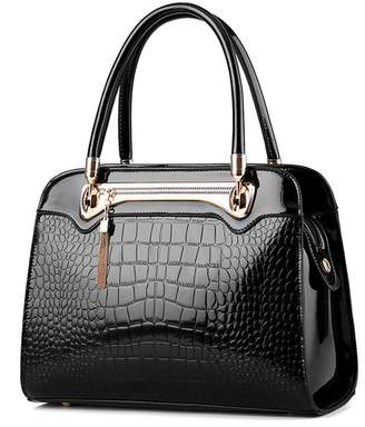 Merrysale Women Patent PU Leather With Crocodile Pattern Handbag Single Shoulder Bag Tote Purse