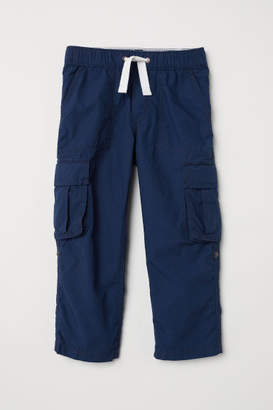 H&M Cotton Poplin Cargo Pants - Blue