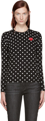 Comme des Garçons Play Black Polka Dot Heart Patch T-Shirt $160 thestylecure.com