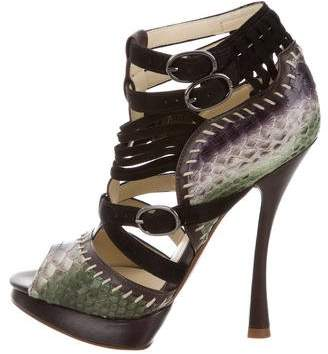 Alexandre Birman Python Caged Sandals