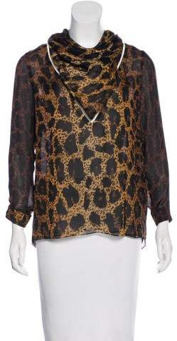 Tom Ford Leopard Print Silk Blouse