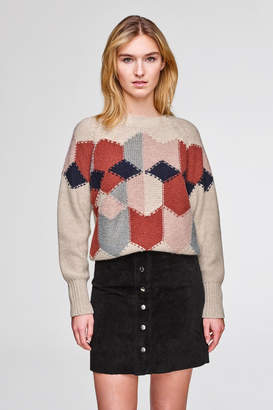 White + Warren Diamond Intarsia Sweater