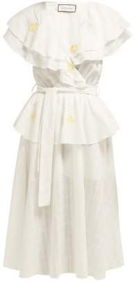 Innika Choo Sailor Cape Cotton Voile Peplum Wrap Dress - Womens - White