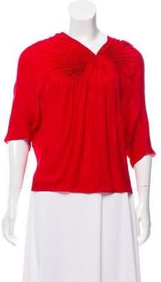 Diane von Furstenberg Winged Sleeve Silk Top