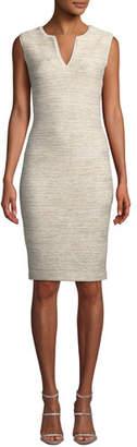 St. John V-Neck Sleeveless Melange Tweed Sheath Dress w/ Georgette Trim