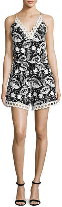 Neiman Marcus N/Nicholas Eden Sleeveless Embroidered Floral Romper, Black/White