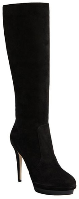 Jimmy Choo black suede patent platform 'Toxic Sue' tall boots