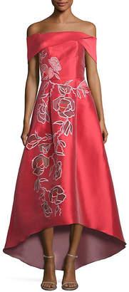 Sachin + Babi Michelle Off-The-Shoulder Floral Applique Gown