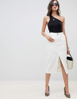 Asos DESIGN denim midi skirt with split front in off white