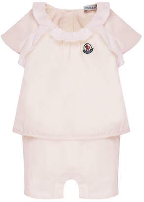 Moncler Cotton-Stretch Ruffle Top w/ Shorts, Size 6-24 Months
