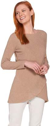 Lisa Rinna Collection Overlay Long Sleeve Knit Sweater