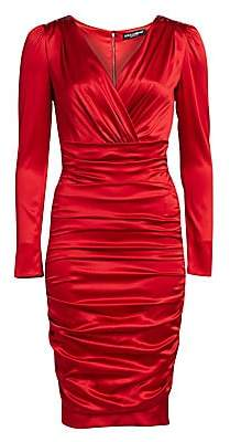 Dolce & Gabbana Dolce& Gabbana Dolce& Gabbana Women's Ruched Satin Long Sleeve Dress