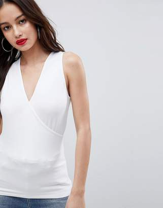 Asos DESIGN top with wrap front and back