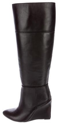 Tory Burch Tory Burch Leather Wedge Knee-High Boots