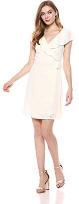 Romantic Dreamers Women's Surplice Ruffle Neckline Allover Lace Wrap Dress