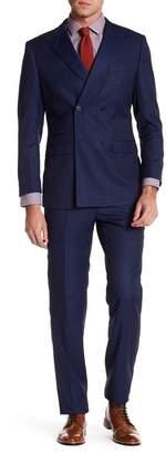English Laundry Blue Windowpane Two Button Notch Lapel Trim Fit Suit