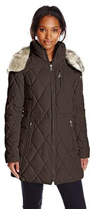 Nautica Women's Diamond Quilted Puffer Coat with Hood $151.39 thestylecure.com