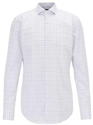 HUGO BOSS Slim-fit shirt in cotton twill with check pattern