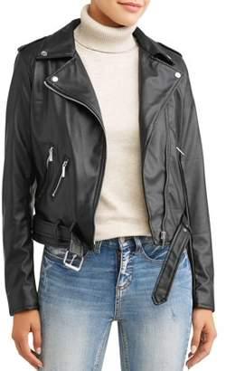 Yoki Women's Sherpa Lined Faux Leather Moto Jacket