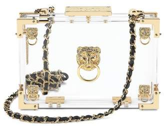 Aspinal of London Lion Box Clutch In Transparent Acrylic