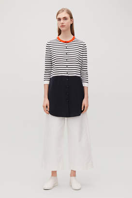Cos STRIPED KNITTED-WOVEN TOP