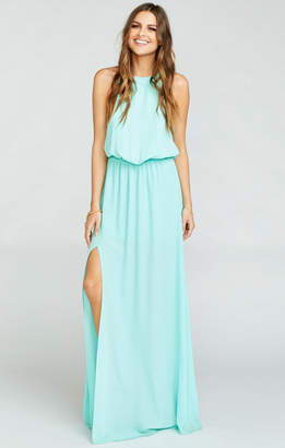 Show Me Your Mumu Heather Halter Dress ~ Sea Glass Crisp