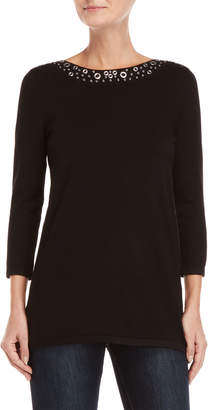 Cable & Gauge Grommet Boatneck Sweater