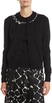 Marc Jacobs Crystalized Crewneck Button-Front Wool-Cashmere Cardigan