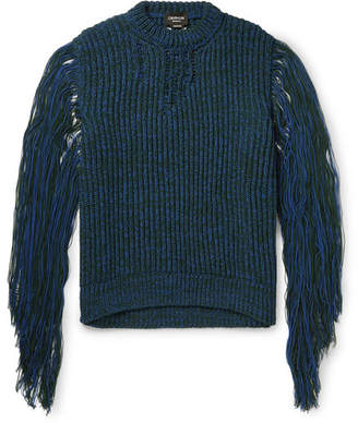 Calvin Klein Fringed Mélange Knitted Sweater