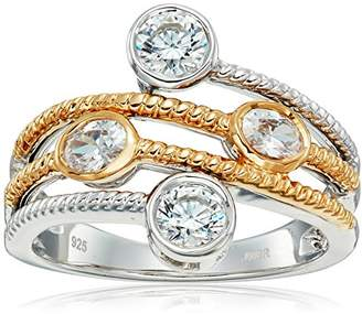 Swarovski 18K Yellow Plating Over Sterling Silver Oval Cubic Zirconia With Zirconia Fashion Ring