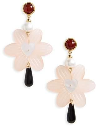 Lizzie Fortunato Sal Heart Drop Earrings with Freshwater Pearl