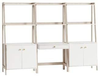 Pottery Barn Teen Highland Wall Desk + Wide Bookcase with Cabinet Set, Simply White/Weathered White