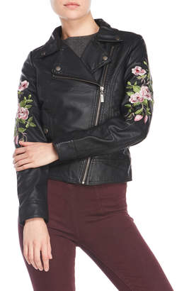 Joujou Jou Jou Embroidered Faux Leather Moto Jacket