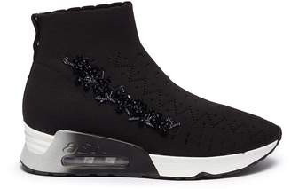 Ash 'Lotus Beads' embellished perforated knit sock sneakers