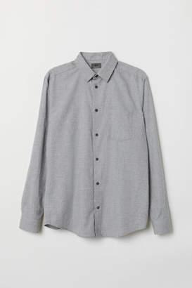 H&M Regular Fit Flannel Shirt - Gray