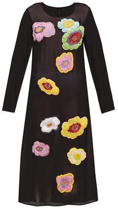 Romance Was Born New Power Generation Floral Applique Chiffon Dress - Womens - Black Multi
