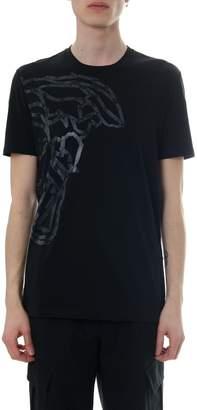 Versace Black Cotton T-shirt With Medusa Print